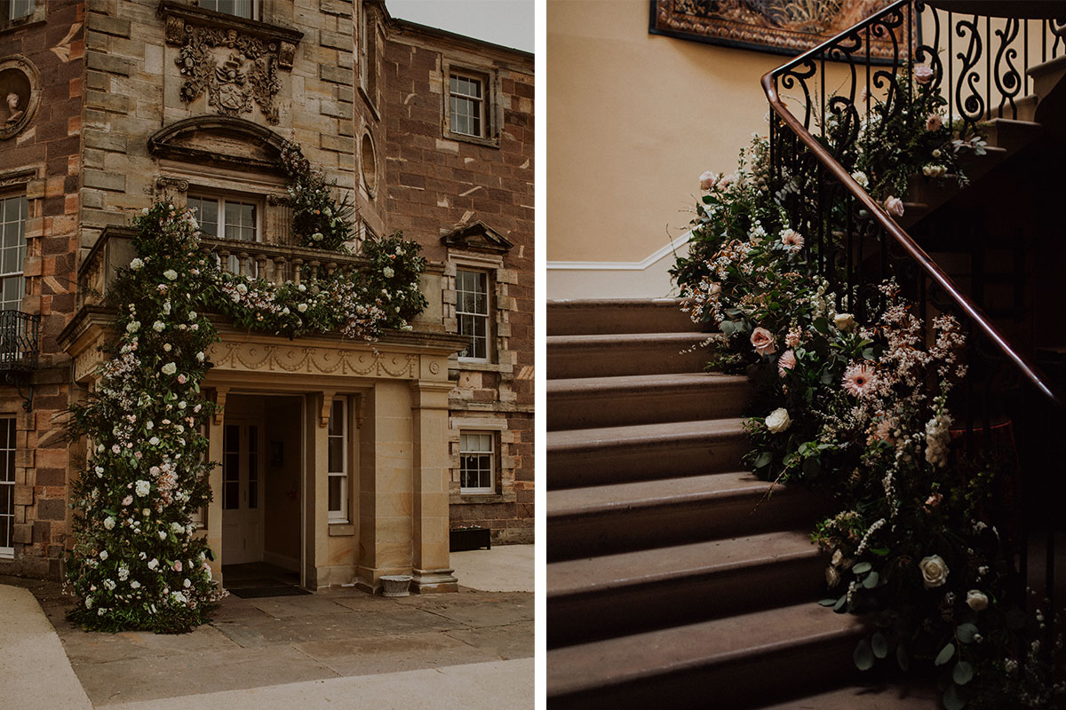 VnA Florals installations at the entrance and stairway of Archerfield House