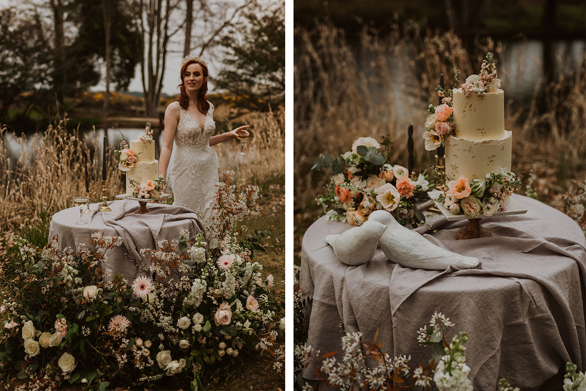 Rustic Cake by Annie two tier bake, displayed outdoors