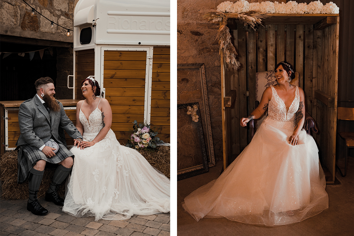 Model wearing Amy King Bridal and Beauty at The Den at Culross