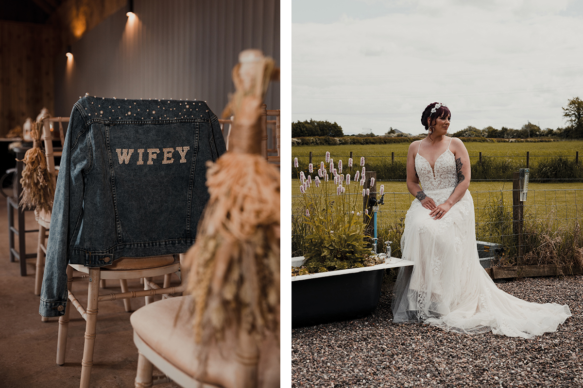 Dillon • King personalised denim jacket and model wearing Amy King Bridal and Beauty gown
