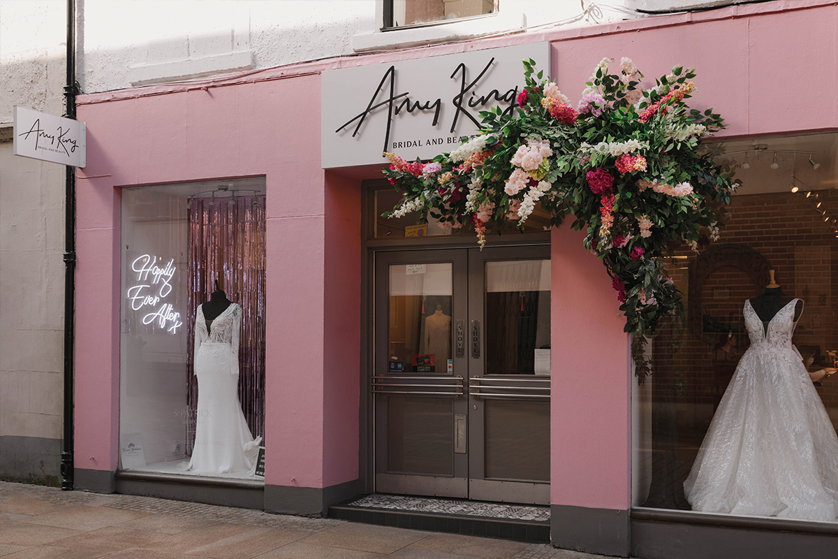 Amy King Bridal and Beauty's pink shop front