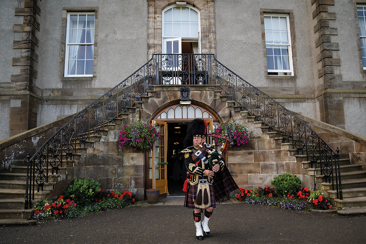 A piper perfoms at Dalmahoy Hotel & Country Club