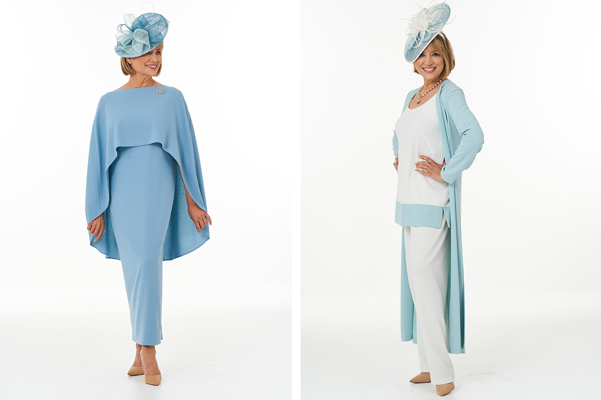 Dress and three-piece trouser outfit from Joyce Young