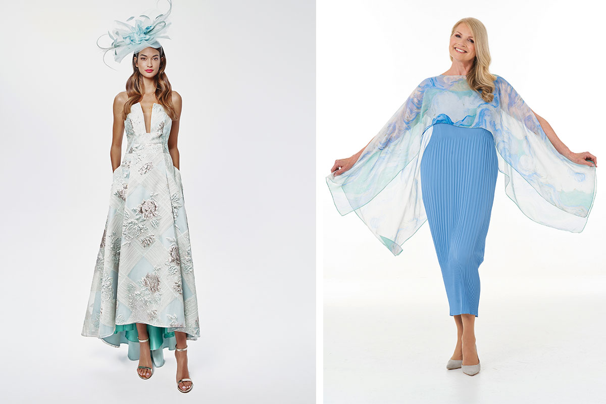 Blue dresses by Frox of Falkirk and Joyce Young Design Studios