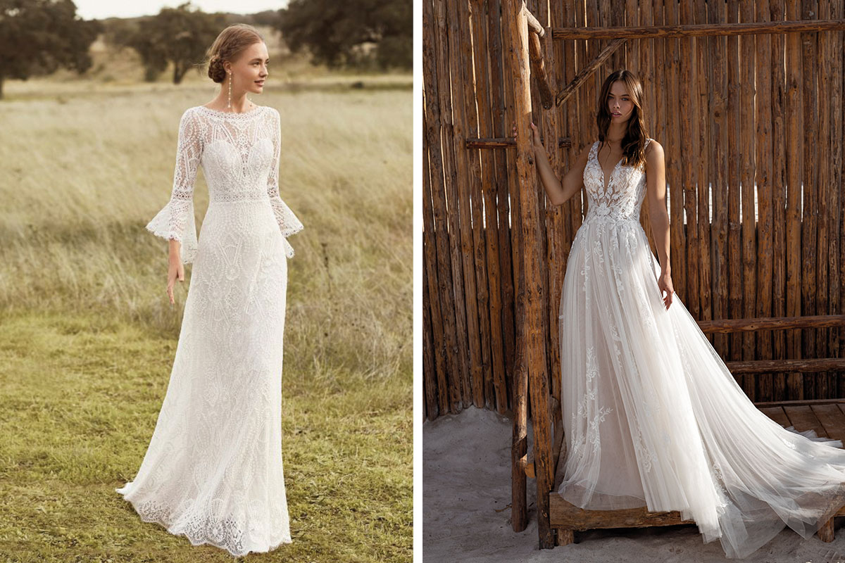 Bohemian style gowns from Kudos Bridal Boutiques (Edinburgh) and Reflections Bridal Boutique