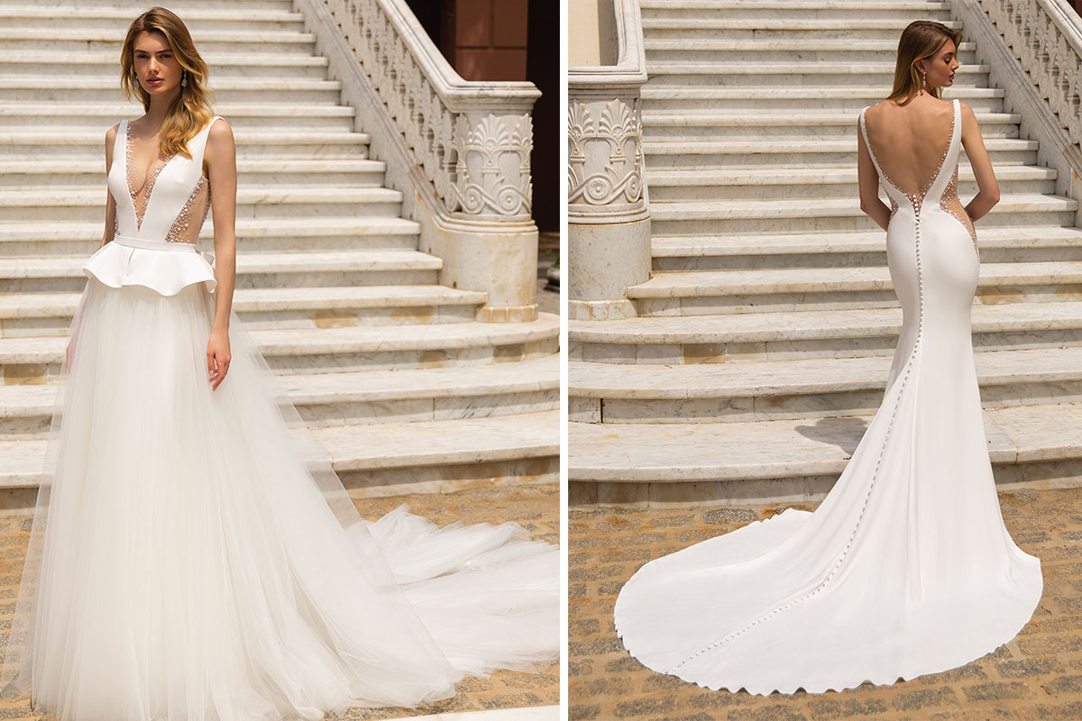Renee by Enzoani, available at Opus Couture