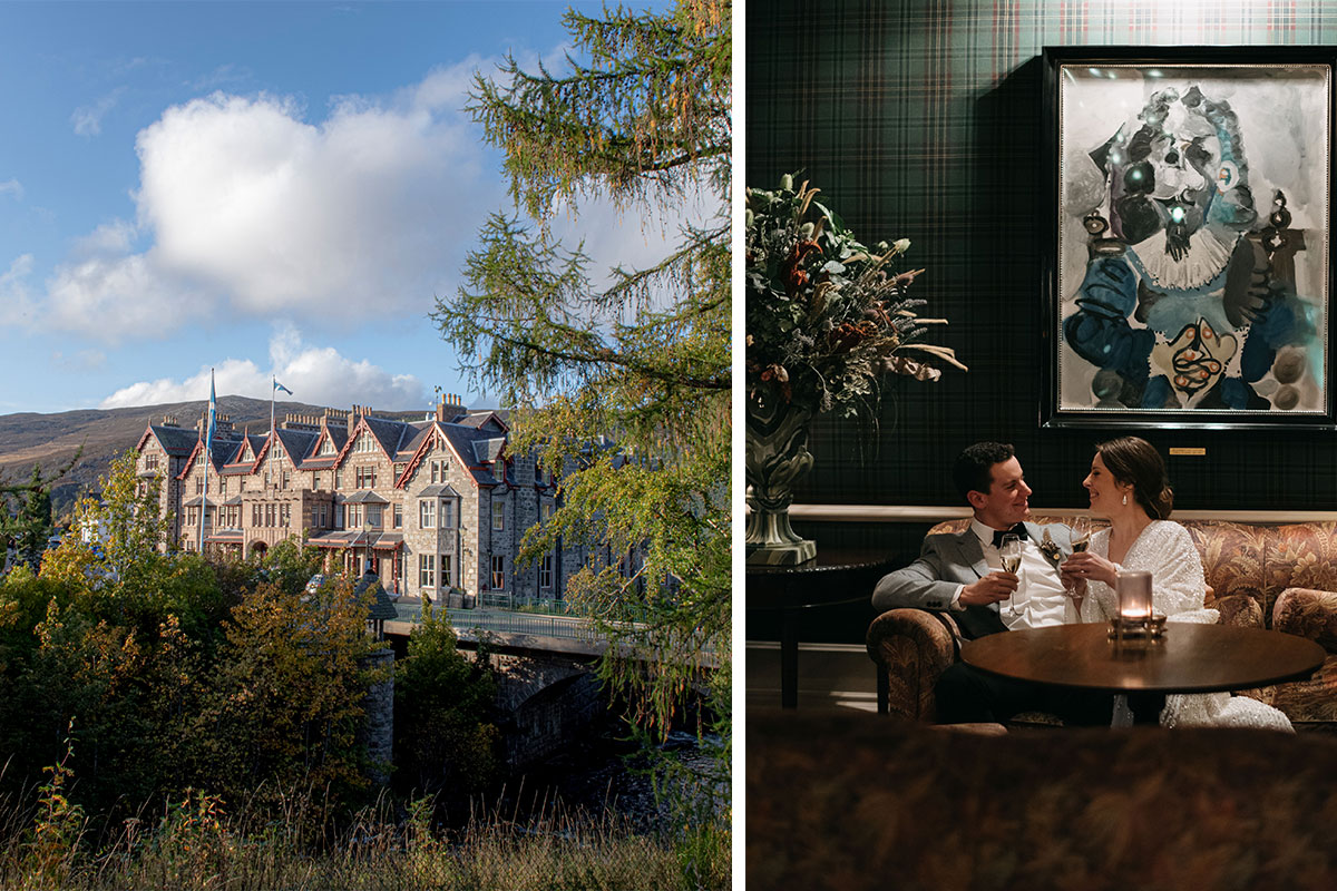 An exterior image of The Fife Arms and an interior image of a bride and groom sitting on a sofa below a work of art at the Fife Arms