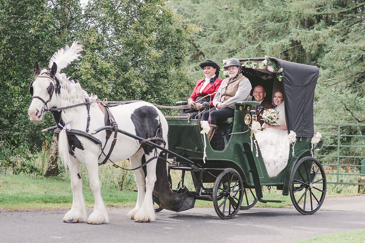 A hors pulls a carriage with two drivers and a bride and groom in the back