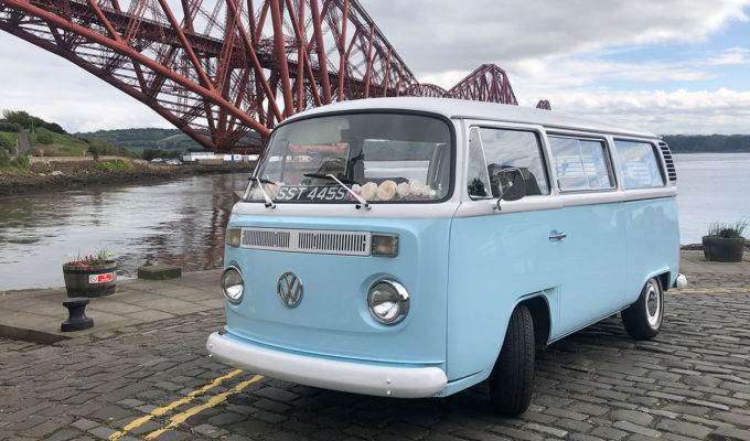 A baby blue VW campervan from Cathburn Classic Cars