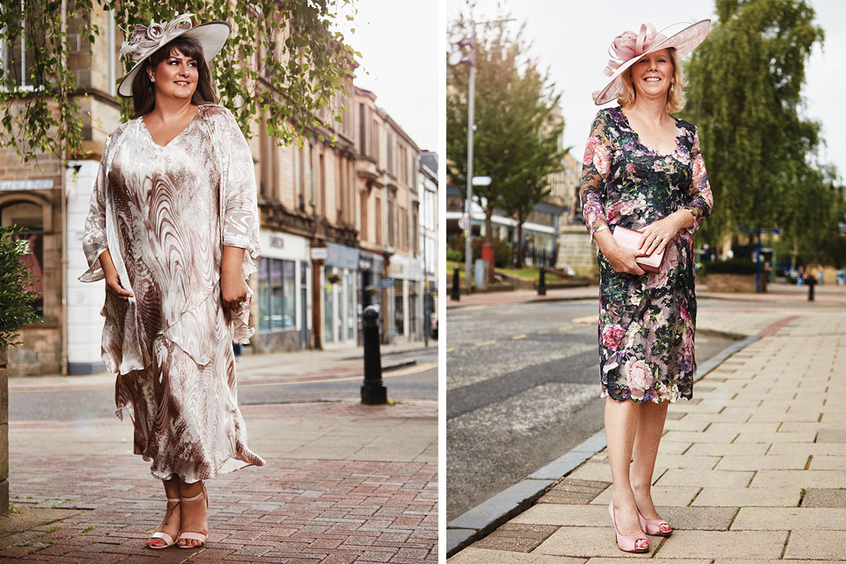 two ladies wearing dresses and hats from Frox of Falkirk
