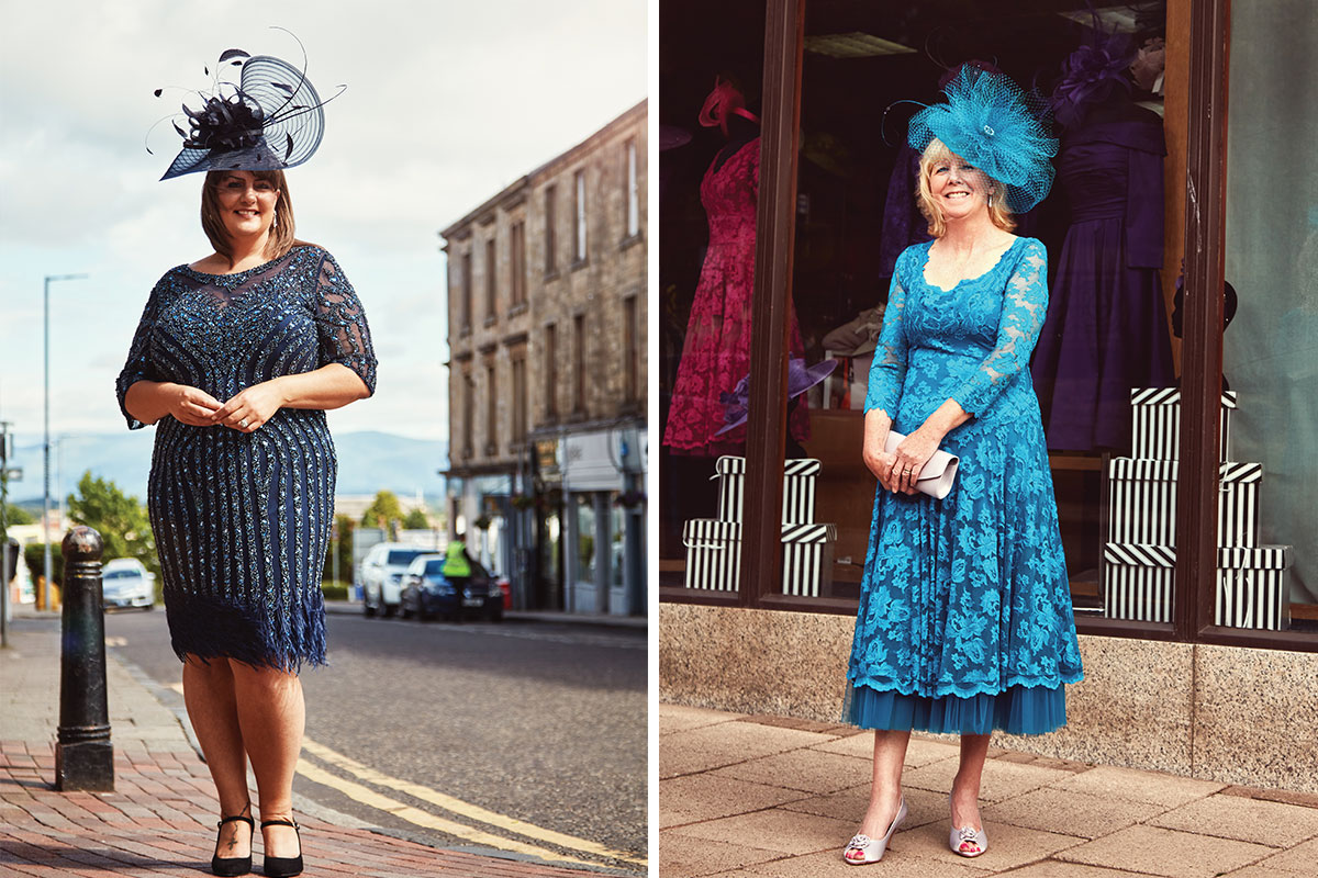 two ladies wearing dresses from Frox of Falkirk