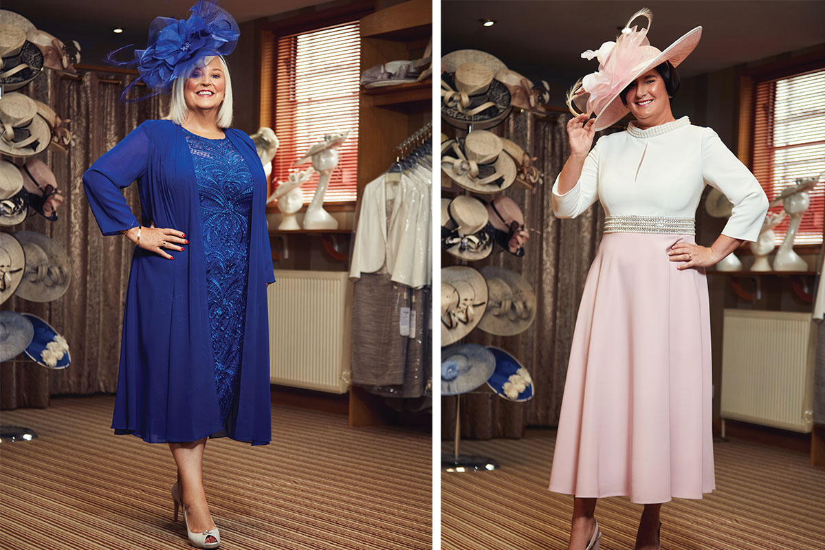 two ladies wearing electric blue and pink occasionwear outfits at Catwalk in Falkrik