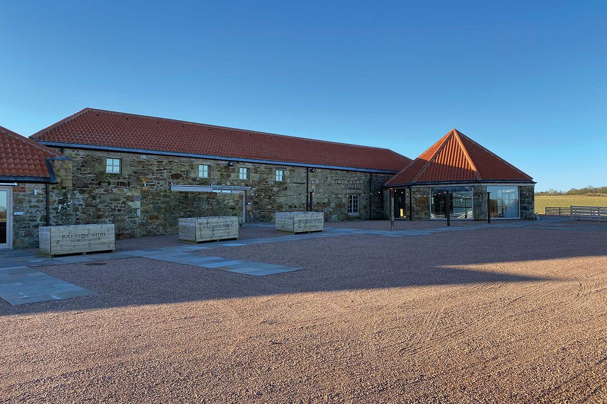 an exterior shot of Falside Mill