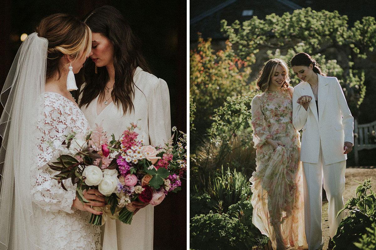 (Left) Two women kiss; (right) two women walk in a garden