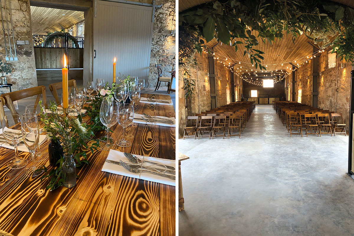 (left) a rustic table set-up at Falside Mill and (right) a ceremony set-up in the venue