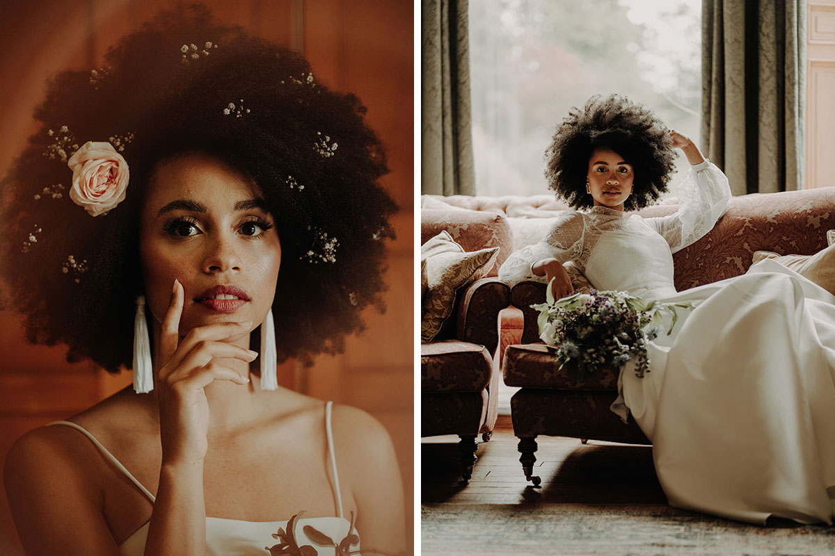 (Left) a close-up of a woman with flowers in her hair and statement earrings; (right) a woman in a wedding dress reclines on a sofa holding a bouquet
