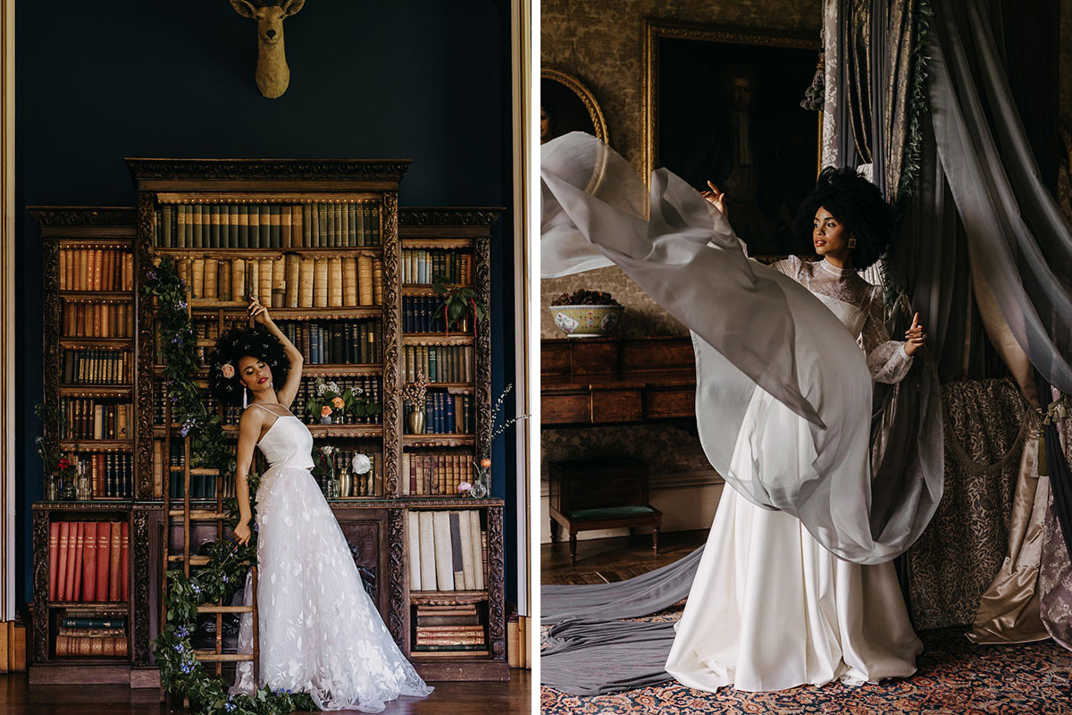(Left) a woman wearing a wedding dress leans against a bookshelf in a library; (Right) A woman in a wedding dress stands next two a four poster bed and throws one of the drapings