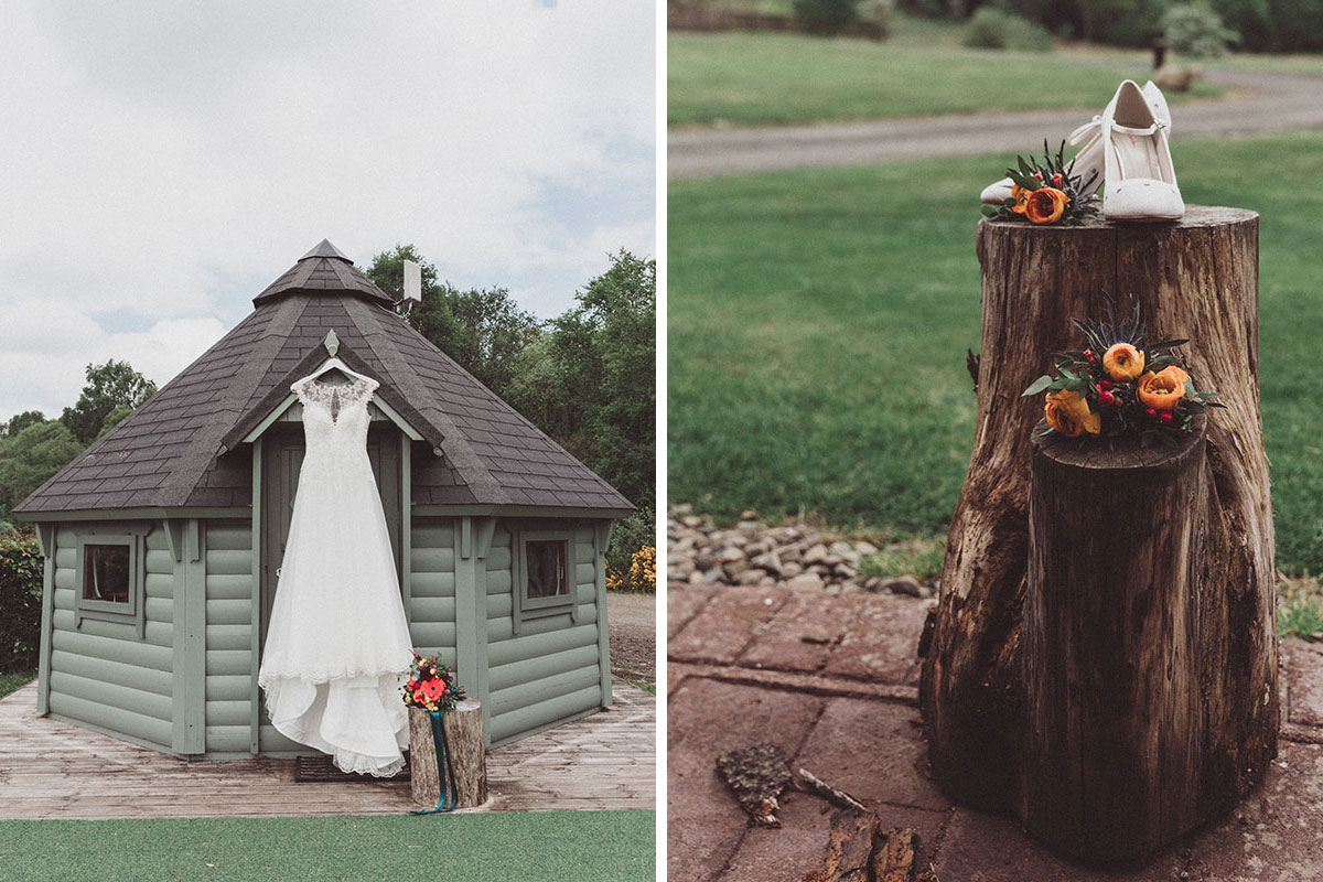 wedding dress hanging on a glamping pod at Eden Leisure Village and logs with flowers