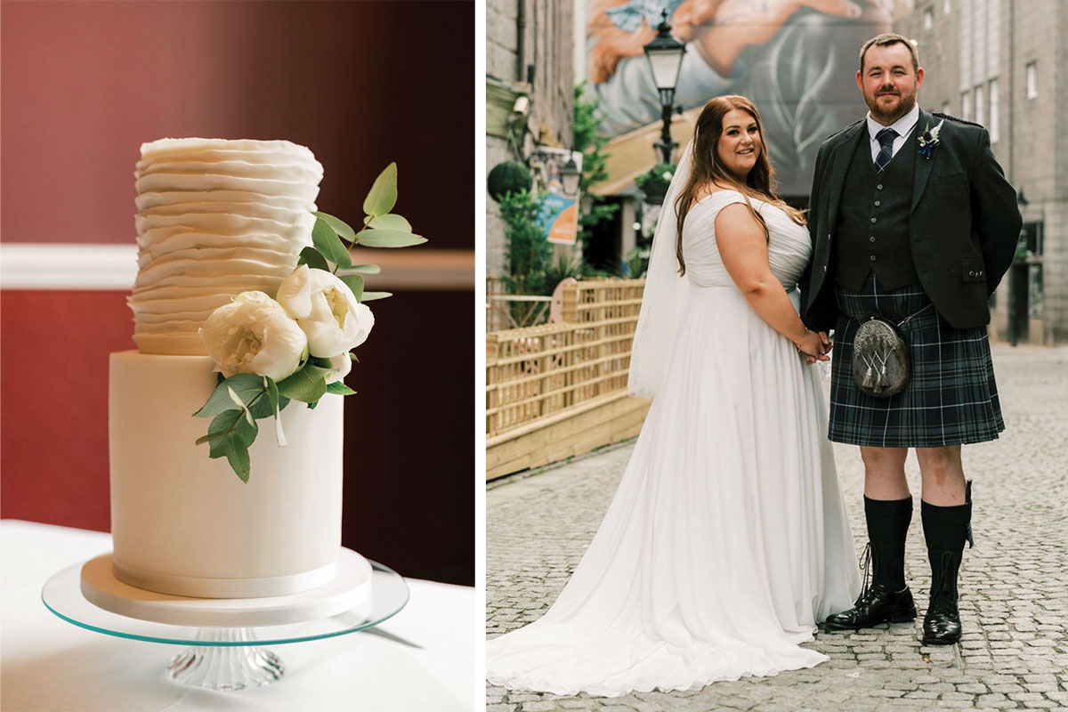 (Right) A cake from Gorgeously Sweet Cake Emporium and (left) a couple who bought their cake there