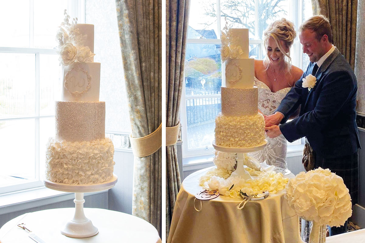 (Right) A cake from Lana Lou's Cake Studio and (left) a couple who bought their cake there
