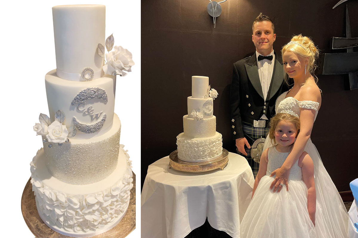 (Right) A cake from Cake Couture by Caroline and (left) a couple who bought their cake there