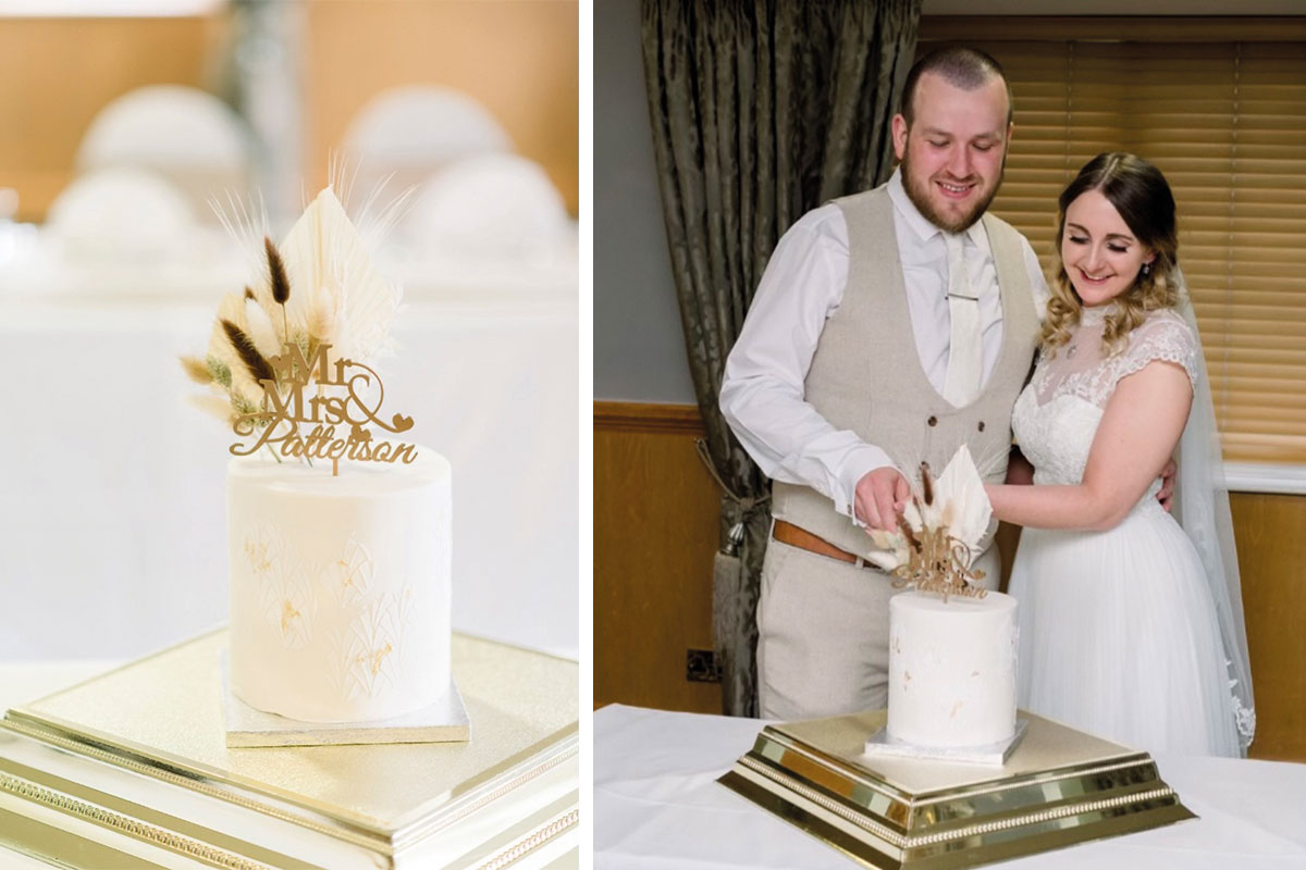 (Right) A cake from The Bluebird Cake Company and (left) a couple who bought their cake there