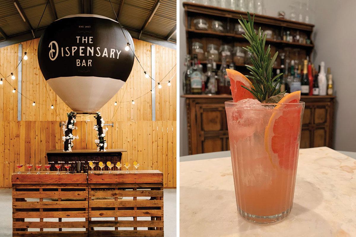 The Dispensary Bar hot air balloon bar and a cocktail by the Dispensary Bar