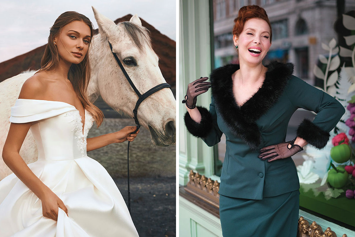 A bride wearing a Pronovias dress with a white horse and a model wearing a dark green Bombshell London outfit with faux fur collar and cuff