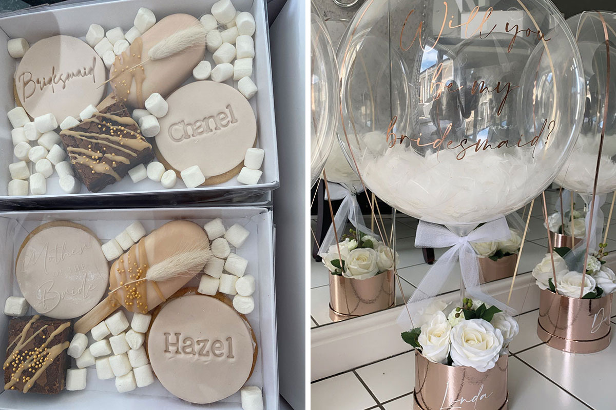 Bespoke biscuits by All that Glitters Cakes and personalised balloons by Balloons by Bex