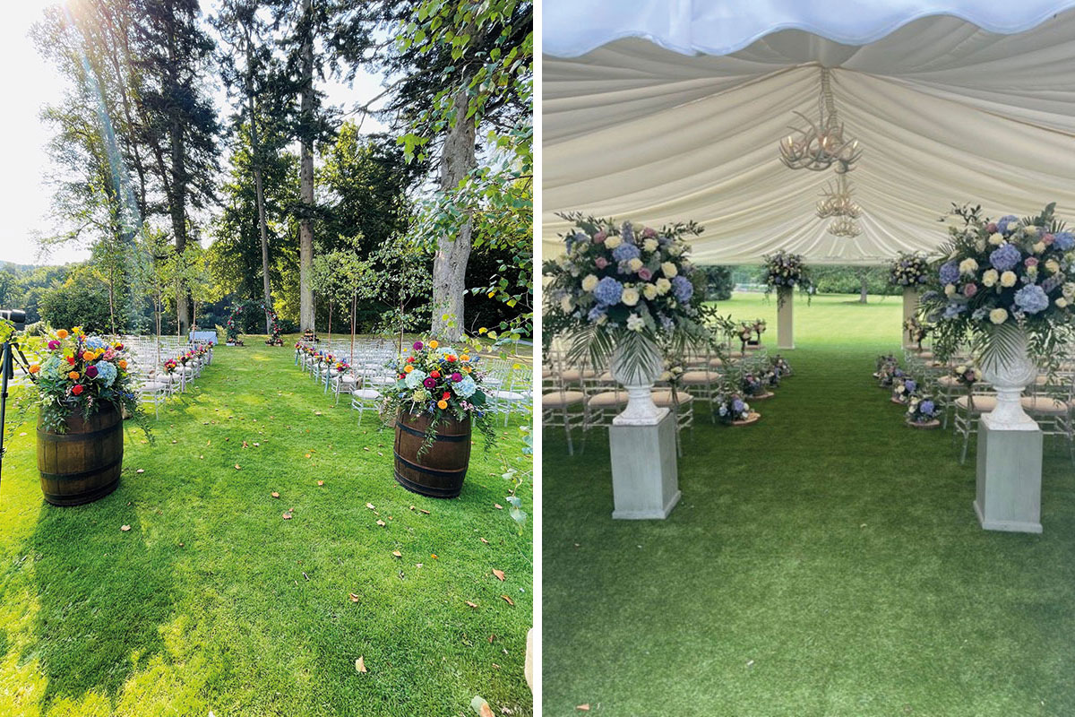 Two different wedding set-ups by Coach House Flowers