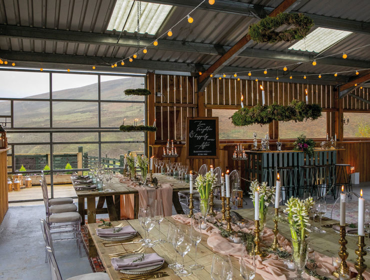 Barn at Blackhouse Forest Estate styled for a wedding by Get Knotted