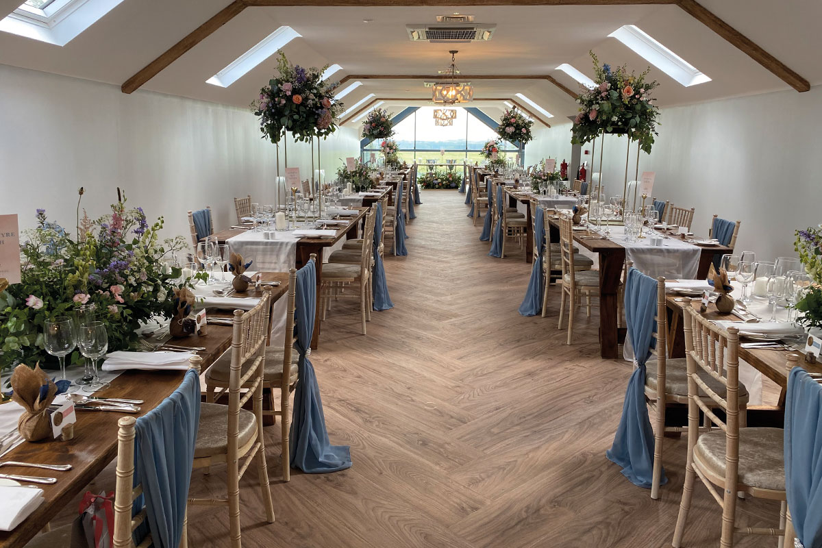 Room styled for a wedding by Cymbeline Events