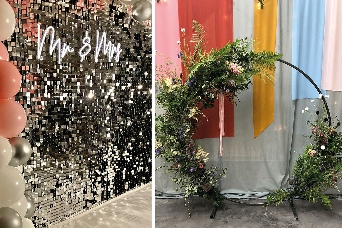 Shimmer wall and neon sign by LA Create and moongate by Lemonbox Studios