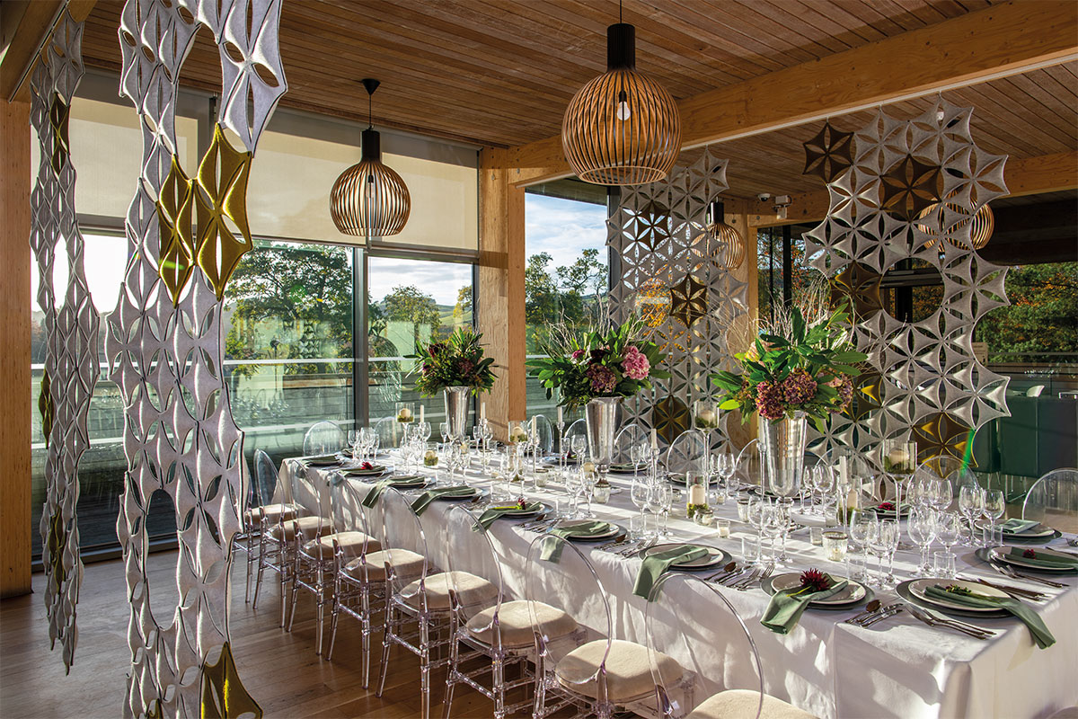 A wedding dinner table at Abbotsford House styled by Get Knotted