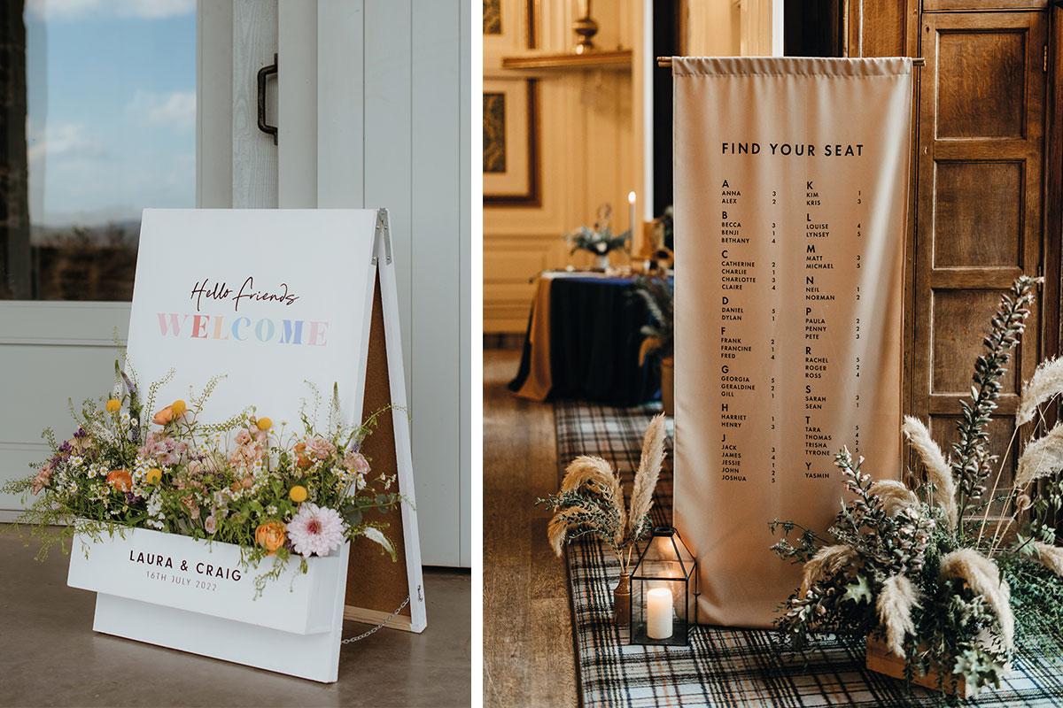 Bespoke wedding signage by Gloam