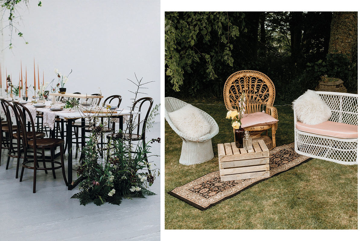 wedding table set up by Lemonbox Studios and wicker furniture by Frill Factory