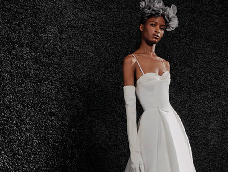 Model wearing A-line gown by Vera Wang Bride stocked in Kavelle Couture in Edinburgh