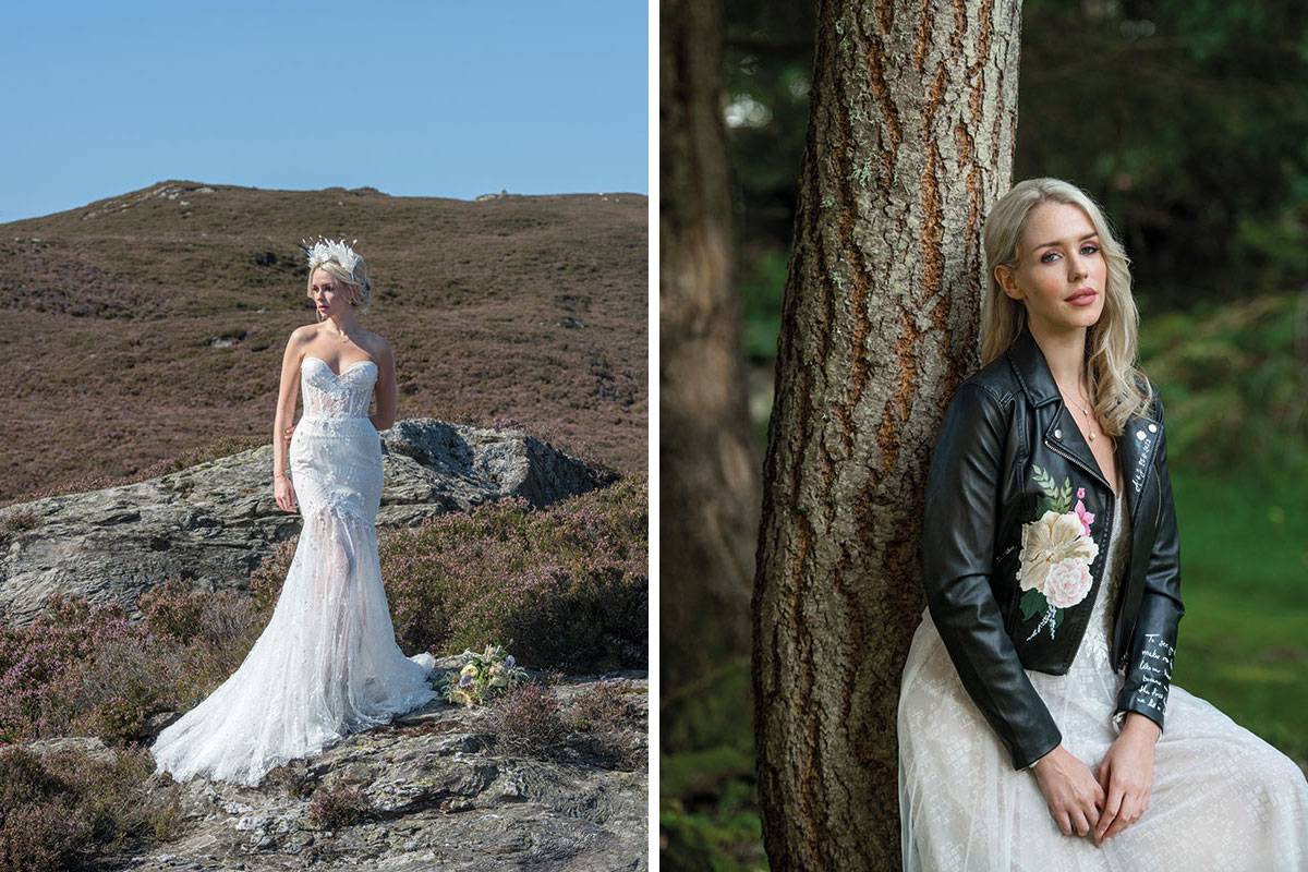 A model wearing wedding dresses from Kavelle Couture and Magnolia Lane Bridal, with hand painted leather jacket by Alexandra Bespoke