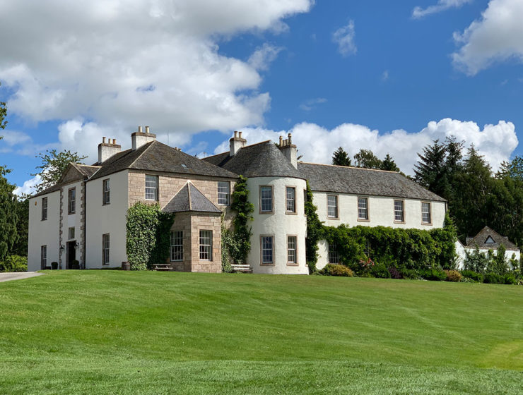 The exterior of Logie Country House in Aberdeenshire
