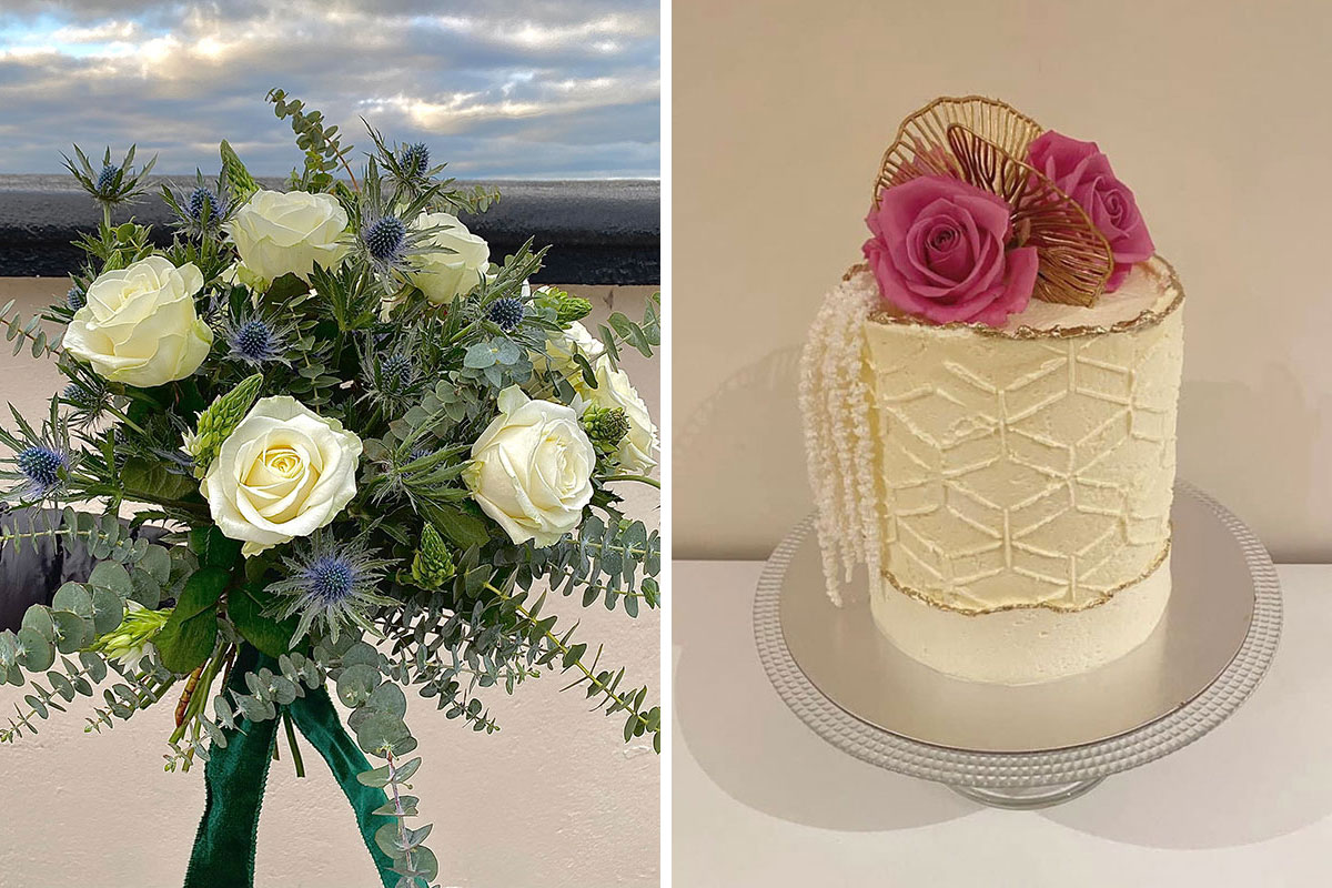 (Right) flowers and (left) a cake, both from Backdrops & Buttercream