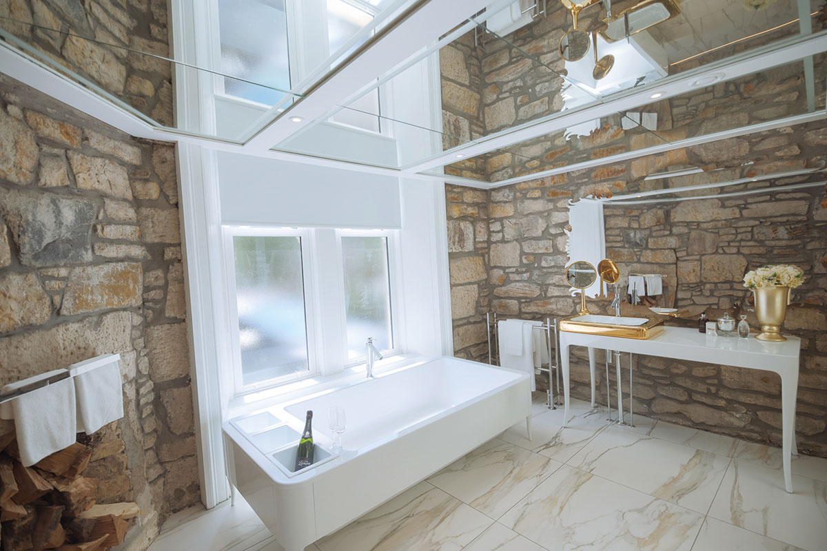 Lynnhurst Hotel's honeymoon suite's newly renovated bathroom