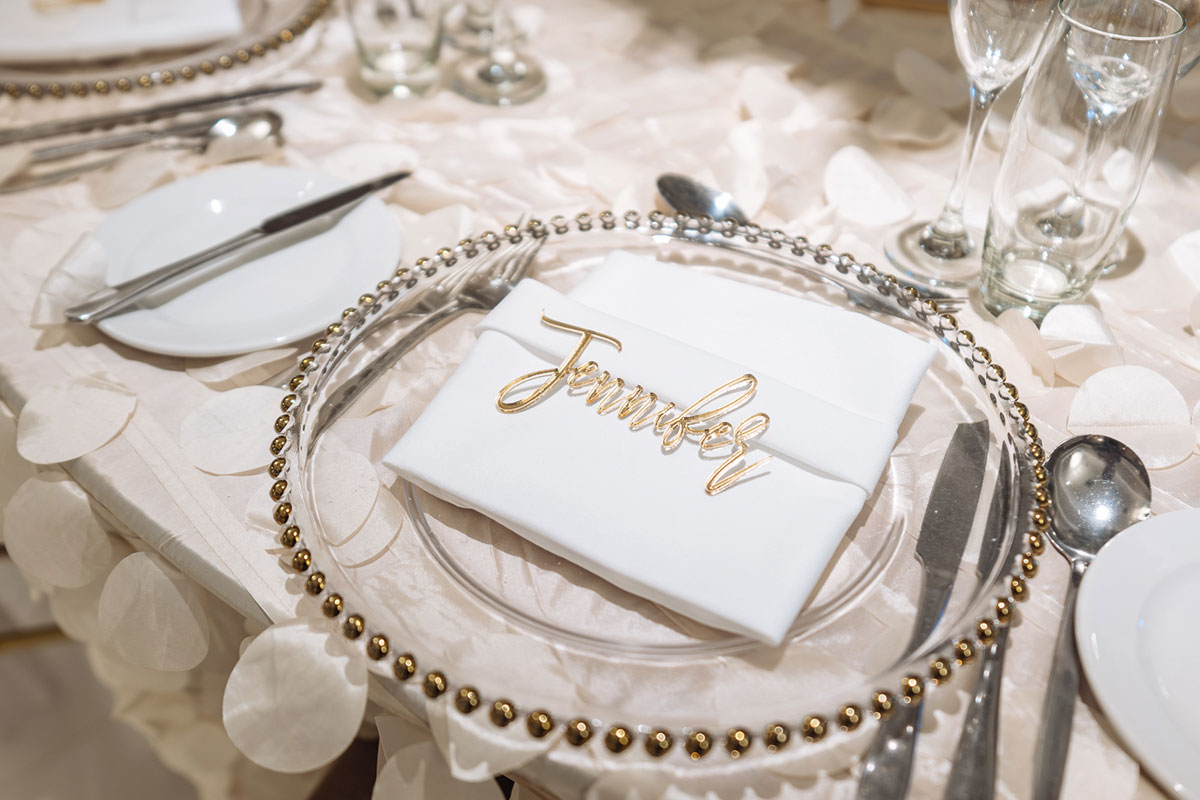 Close-up of a tablescape from a Manorview wedding