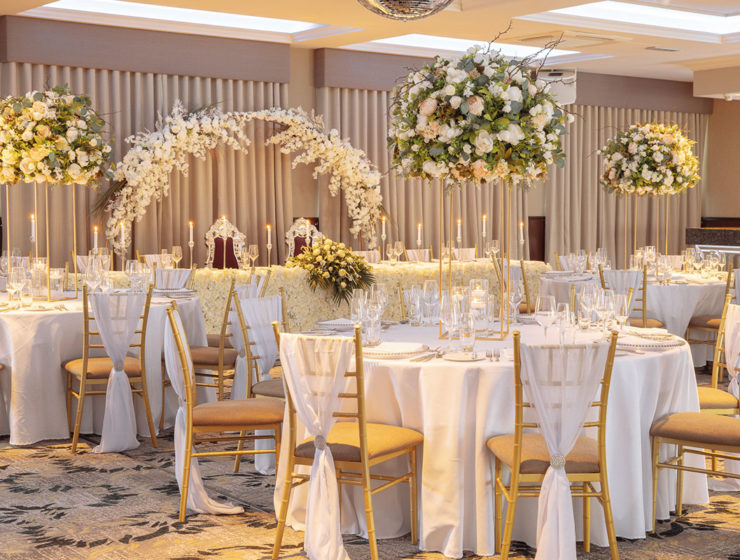 A wedding reception set up at a Manorview hotel